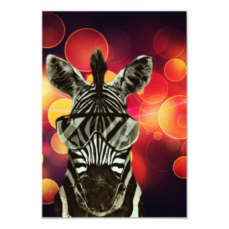 "Hipster Zebra Style 3.5"" X 5"" Invitation Card"