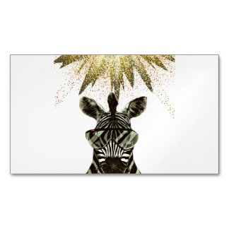 Hipster Zebra Style Animal Magnetic Business Card