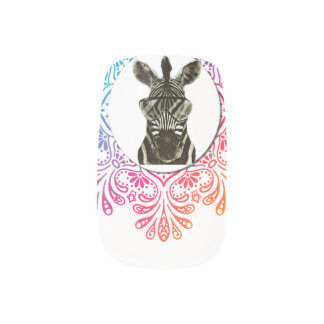 Hipster Zebra Style Animal Minx Nail Art