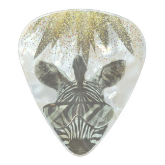 Hipster Zebra Style Animal Pearl Celluloid Guitar Pick
