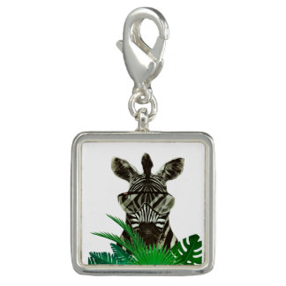 Hipster Zebra Style Animal Photo Charm