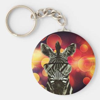 Hipster Zebra Style Basic Round Button Keychain