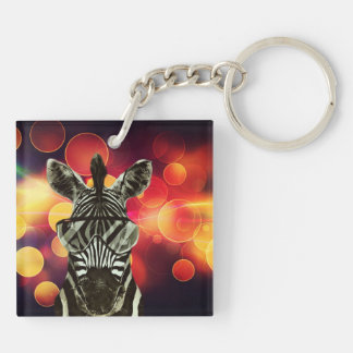 Hipster Zebra Style Double-Sided Square Acrylic Keychain