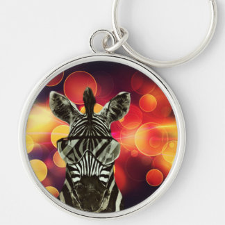 Hipster Zebra Style Silver-Colored Round Keychain