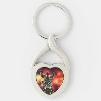 Hipster Zebra Style Silver-Colored Twisted Heart Keychain