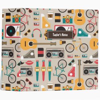 Hipsterrific Hipster Things Pattern (Cinereous) Vinyl Binder