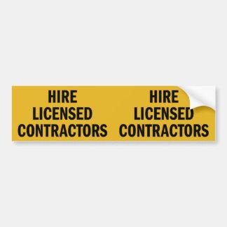 Hire Licensed Contractors double bumper sticker