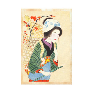 Hirezaki Eiho Beauties of the Twelve Months, Bijin Stretched Canvas Print