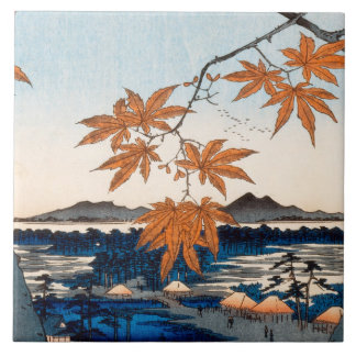 Hiroshige Maple Trees at Mama, Tekona Shrine Tile