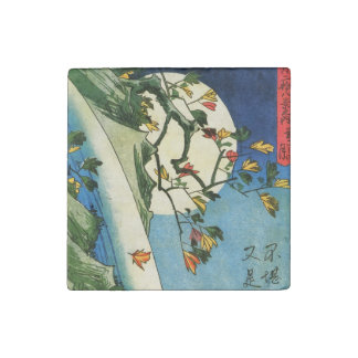 Hiroshige Moon Over A Waterfall Japanese Fine Art Stone Magnets