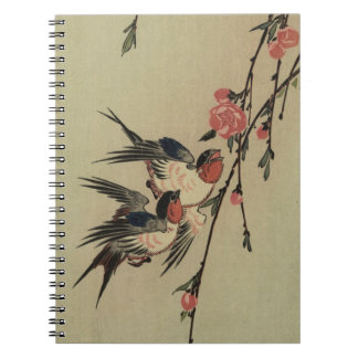 Hiroshige Swallows and Peach Blossoms Note Books