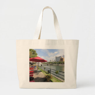 Hiroshima city. At open coffee of capital bridge Large Tote Bag