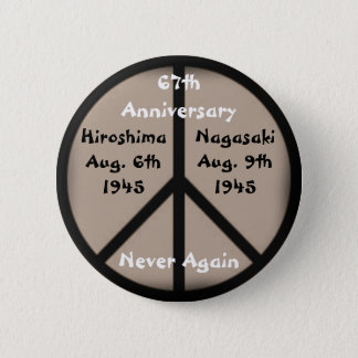 Hiroshima-Nagasaki Peace Sign 2 Inch Round Button