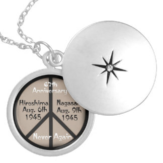 Hiroshima-Nagasaki Peace Sign/Anniversary Date Round Locket Necklace