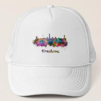 Hiroshima skyline in watercolor trucker hat