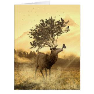 Hirsch Fantasy Nature Art Illustration Card