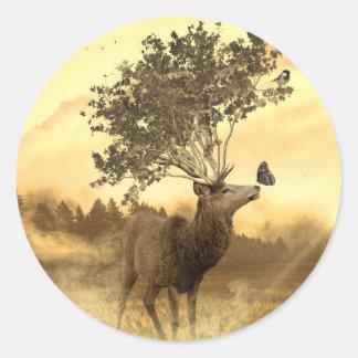 Hirsch Fantasy Nature Art Illustration Classic Round Sticker