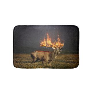 Hirsch with Horns on Fire Fantasy Art Bath Mat