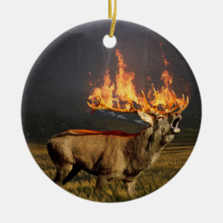 Hirsch with Horns on Fire Fantasy Art Round Ceramic Ornament