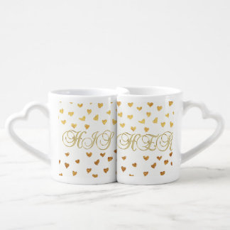 His and Her. Gold Hearts, and text. Coffee Mug Set