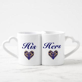 His And Hers Anniversary Blue Hearts Mug Set