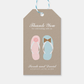His and Hers Beach Sandals Wedding Pack Of Gift Tags