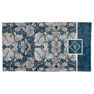 His and Hers Blue and White Leafy Print Pillowcase