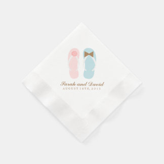 His and Hers Flip Flops Beach Wedding Paper Napkins