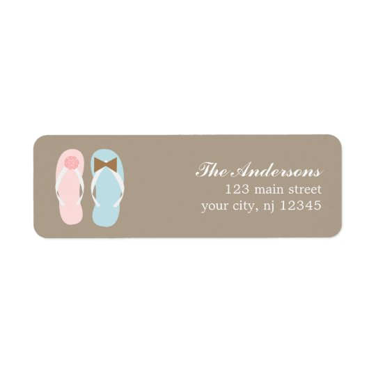 His and Hers Flip Flops Beach Wedding Return Address Label