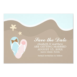 "His and Hers Flip Flops Save the Date 5"" X 7"" Invitation Card"