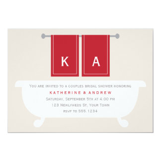 "His and Hers Towels Bridal Shower {red} 5"" X 7"" Invitation Card"