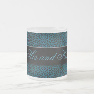 His and His Blue Cheetah Print Personalized Mug