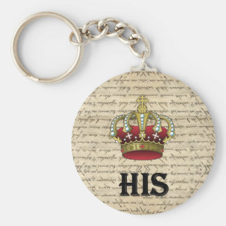 His(crown on vintage paper) basic round button keychain