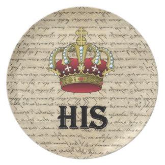 His(crown on vintage paper) dinner plate