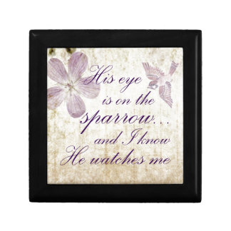 His Eye is on the Sparrow...Bible Verse Art Gift Box