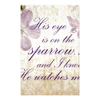 His Eye is on the Sparrow...Bible Verse Art Stationery
