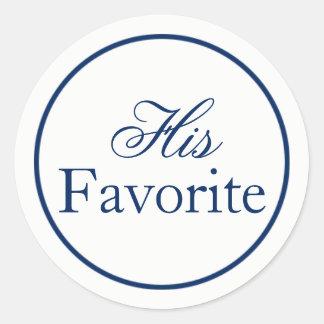 """""""His Favorite"""" Wedding Favor Sticker - Navy"""