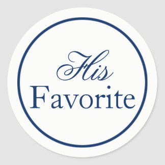 """His Favourite"" Wedding Favour Sticker - Navy"