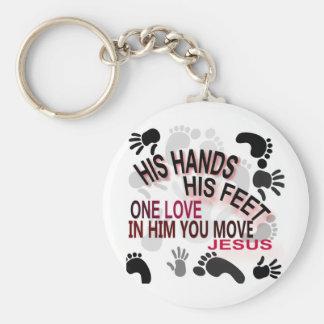 His Hands Basic Round Button Keychain