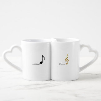 his + Her | Mr. + Mrs. musical notes personalized Coffee Mug Set