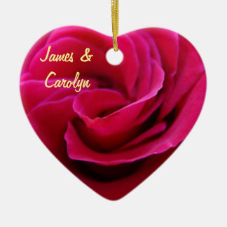 His & Her Name ornaments Pink Rose Wedding Date