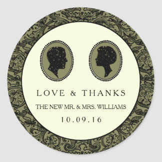 His & Hers Art Deco Silhouette Wedding Collection Round Sticker