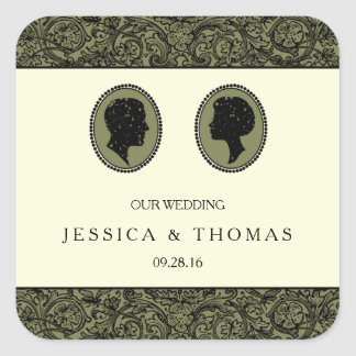 His & Hers Art Deco Silhouette Wedding Collection Square Sticker