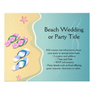 His/Hers Flip Flops on the Beach Wedding Full Color Flyer