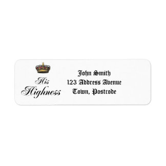 His Highness (part of his and hers set) Return Address Label