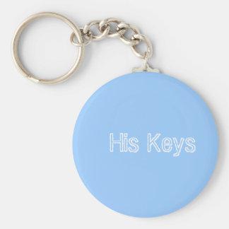His Keys Basic Round Button Keychain