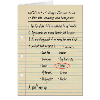 HIS LIST - Thanks Ring Bearer - FUNNY Greeting Card