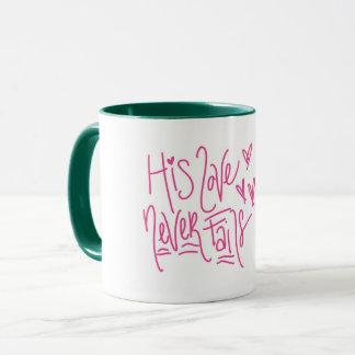 His Love Never Fails - Coffee Mug for Christians