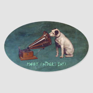 His Master's Voice Father's Day Oval Stickers