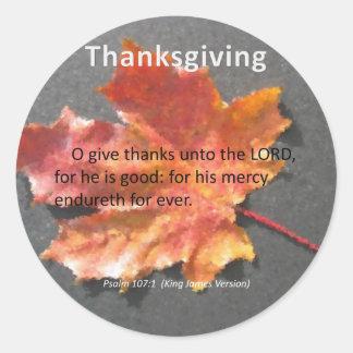 His Mercy Endureth Thanksgiving Psalm 107:1 Classic Round Sticker